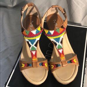 Mia beaded platform sandals